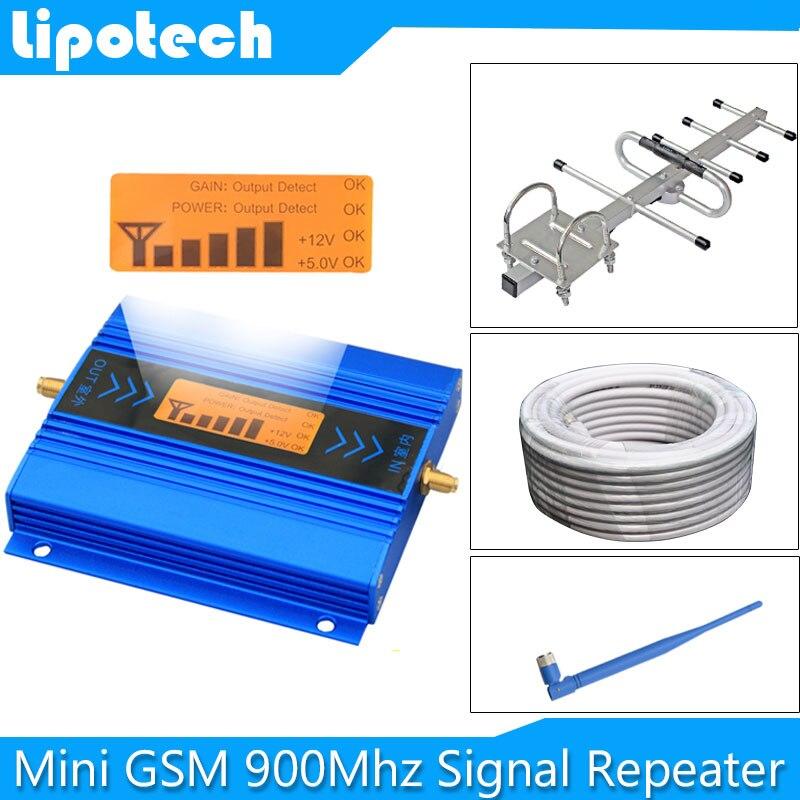 ¡ Venta caliente! Mini lcd GSM 900 MHz 2G repetidor señal del teléfono móvil GSM repetidor de señal celular Amplificadores + cable + antenas