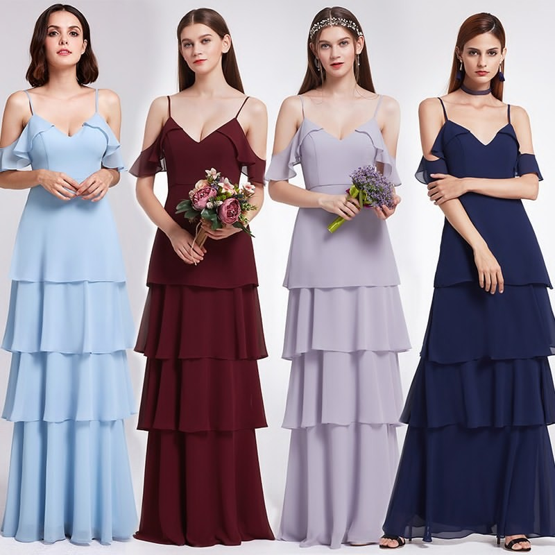 Ever Pretty New Arrival 2018 Chiffon Bridesmaid Dresses Women EP07202 Ladies Dresses for Wedding Party Dress Navy Blue Lilac