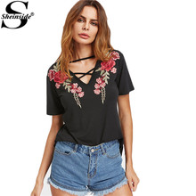 Sheinside Crisscross V Neck Rose Patch Tee Summer Fashion Tee Shirt Women Loose Black V Neck Embroidery T-Shirt