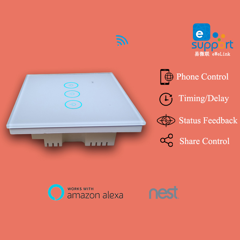 Ewelink app 1 2 3 Gang WiFi Wall Touch Switch Timer Panel 85-250V IOS Andorid Phone Remote UK Standard Smart Home Automation ewelink app 1 2 3 gang wifi wall touch switch timer panel 85 250v ios andorid phone remote smart home automation for alexa nest