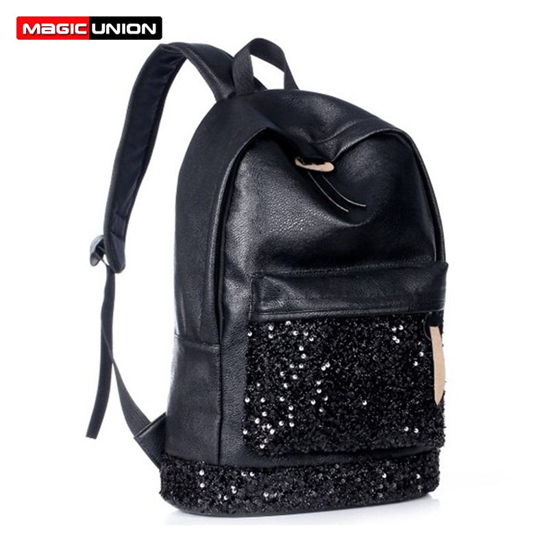 MAGIC UNION Fashion Women Sequins Backpack For Teenager Girls School Backpack Female Leather Backpack School Bags