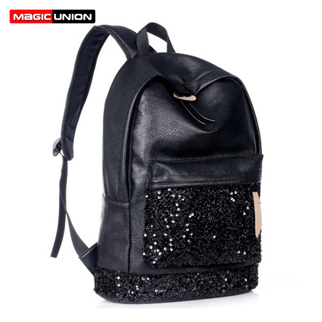 8fb15d818e0 MAGIC UNION New 2018 Fashion Women Backpack Big Crown Embroidered Sequins  Backpack Wholesale Women Leather Backpack School Bags