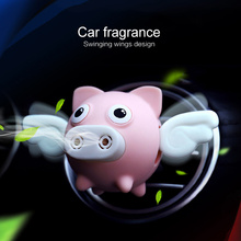 Car Air Freshener Cartoon Cute Shaking Wings Pig Doll Perfume Clip Diffuser Auto Vent Solid Fragrance Purifier Decor
