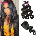 Brazilian Virgin Hair With Closure Cheap Brazilian Body Wave With Lace Closure Brazilian Human Hair Weave 3Bundles With Closure