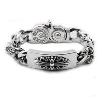 925 Silver Cross Bracelet For Men Jewelry Vintage Width 16 6mm Real 100 S925 Solid Thai