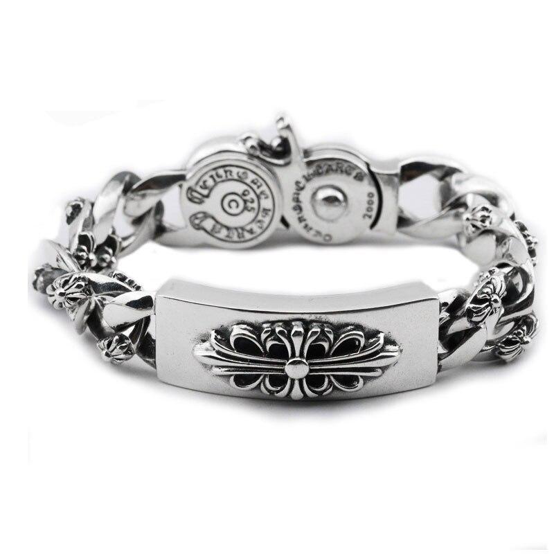 925 Silver Cross Браслет для Для мужчин Jewelry Винтаж Ширина 16.6 мм реальные 100% S925 Solid тайский стерлингового серебра государства Для мужчин t Большой Бр...