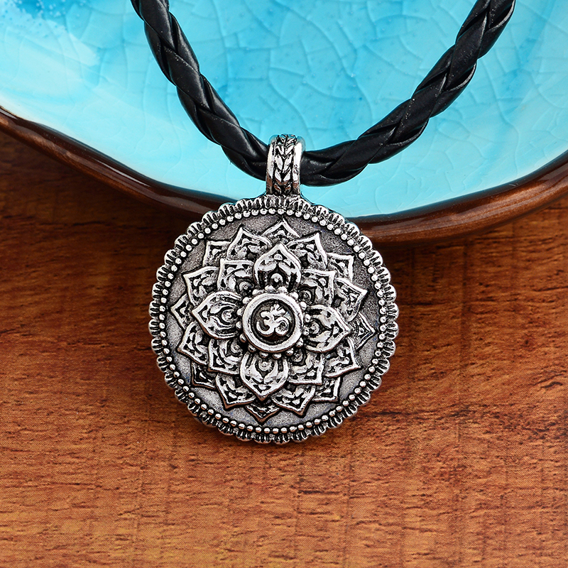 Flower of Life Necklace Yoga Chakra Mandala Pendant Necklace Ancient silver Zen Buddha Buddhism Amulet Religious Jewelry Gift 2
