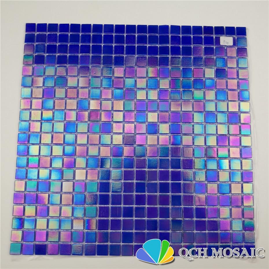Deep blue iridescent color glass mosaic tile swimming pool tile bathroom kitchen backsplash wall tile 46square feet/lot