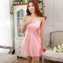 Sexy lingeire Ladies women Satin Lace Strappy Nightdress