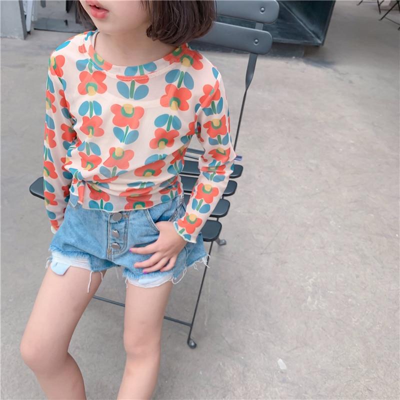 Boys Tshirt Long-Sleeve Girls Children Summer Kids Top Tee Fille Sun-Proof Bloom