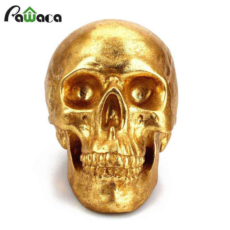 Human Head Golden Bone Resin Skull Crafts Money Boxes Piggy Bank Money Coins Saving Box Halloween Gift Home Party Decoration