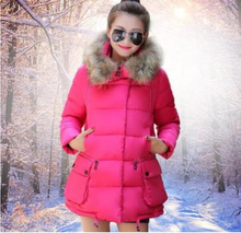 Fashion Winter Jacket Women Plus Size Casual Feminine Coat Solid Color Warm Long Parka Fur Collar Padded Jackets Female C831