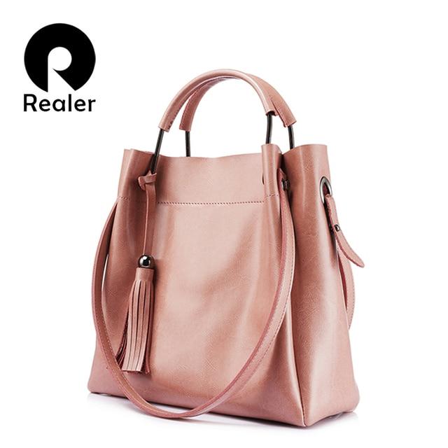 REALER новинка бренда Женская сумочка из высококачественной сплит-кожи, Модная дамская сумка большого объема через плечо с кисточкой Комплект из двух сумочек