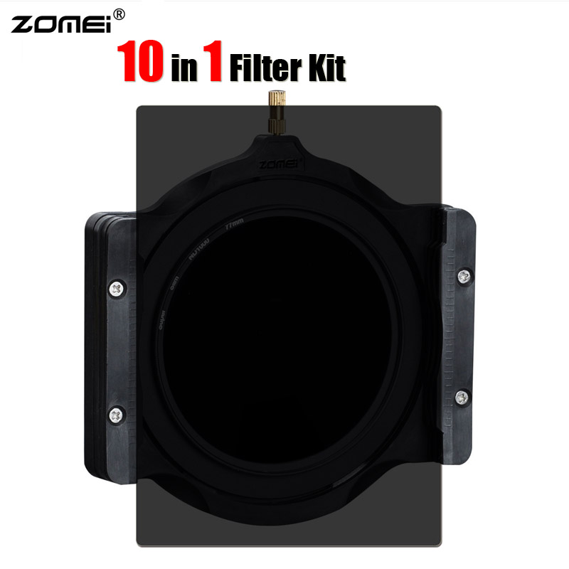 10 in 1 Zomei 100x150mm Gradient + Full Color ND2 ND4 ND8 ND16 + 100mm Multifunctional Filter Holder + 77mm Ring for Cokin Z LEE edcgear 4 in 1 multifunctional lighter holder
