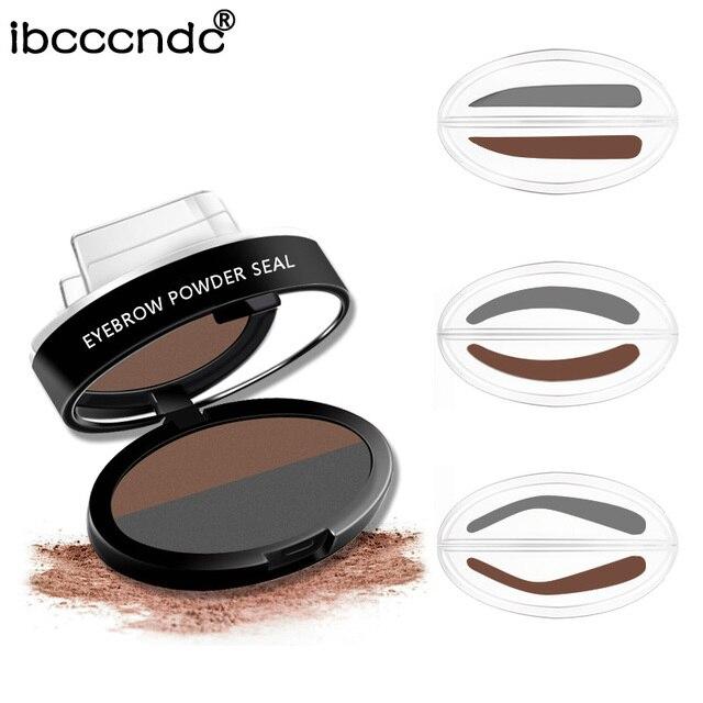 Double Color Eyebrow Powder Seal Makeup Brown Eye Brow Stamp Palette Long Lasting Waterproof Eyebrow Shadow Stencil Kit Cosmetic 1