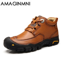 AMAGINMNI Shoes Men S Winter Leather Men Waterproof Rubber Boots Leisure Boots England Retro Shoes For