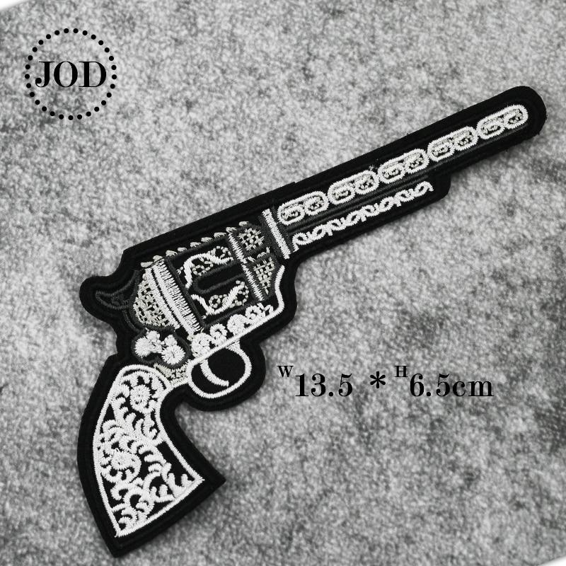 Revolver Hand Gun Embroidered Biker Jacket Patch Iron on Sew On Badge Transfer