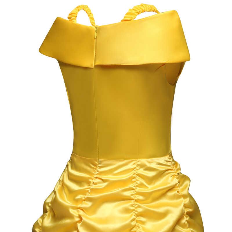 Платье принцессы «Красавица и Чудовище»; карнавальный костюм Белль; детское платье для девочек на день рождения; Одежда для девочек с волшебной палочкой