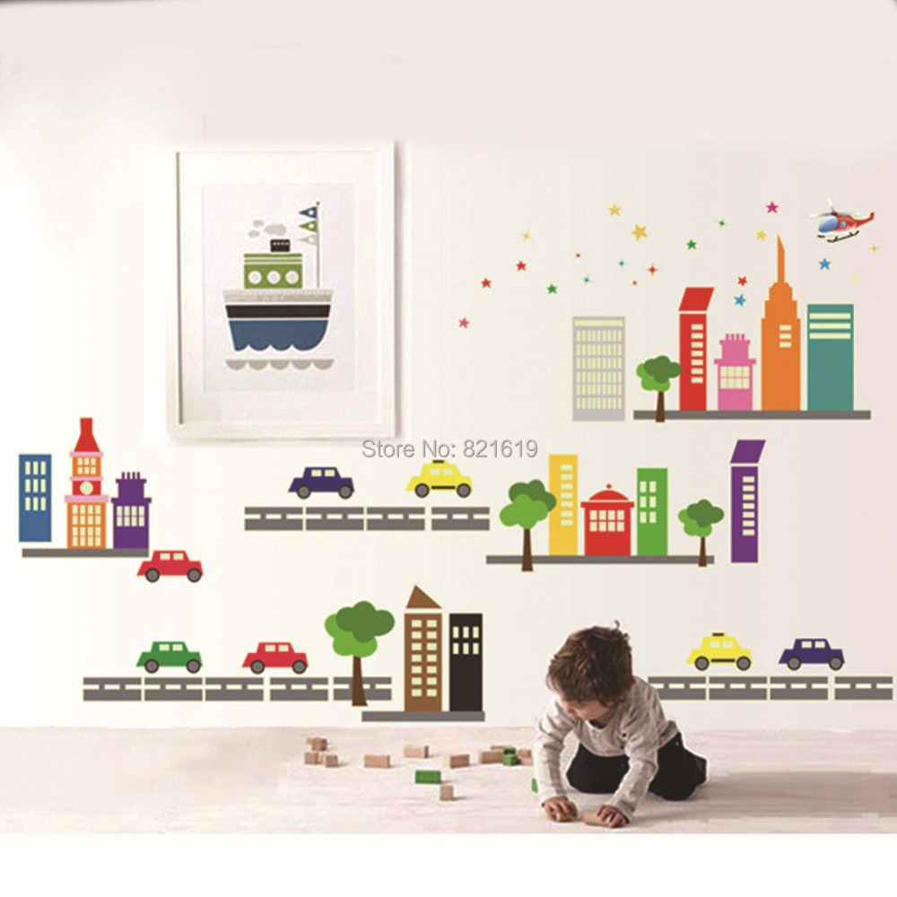 Toy Cars Buildings Wall Sticker DIY Removable Catoon Children Nursery Room Wall  Decal Christmas Gift Wallpaper ... Part 34