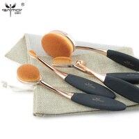 Rose Gold 5 10 Pcs Tooth Brush Shape Oval Makeup Brush Set MULTIPURPOSE Professional Foundation Powder