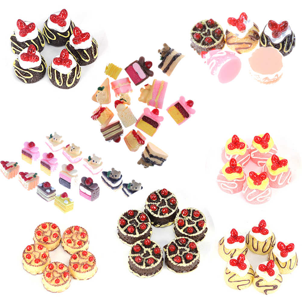 5PCS Lovely Mini Cakes Donuts Mixed Food Mini Play Food Heart Love Cake Donuts Candy Dolls Miniature Pretend Toy For Dolls