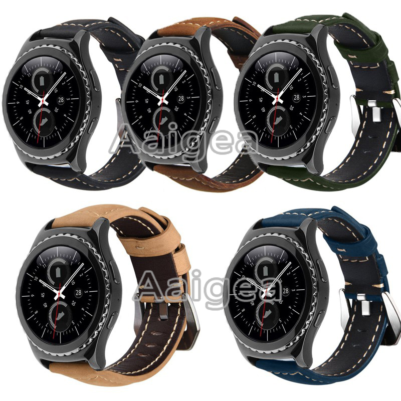Genuine Leather Replacement Strap Band for Samsung Gear S2 Classic Silver Solid Buckle watchbands for gear s2 R720 sport band аксессуар ремешок samsung et srr72mlegru для gear s2 gear s2 sport black blue
