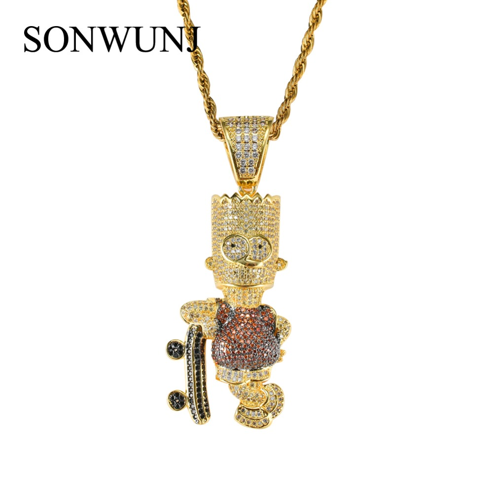 Clever Shiny Skateboard Cartoon Pendant Necklace Iced Out Cubic Zircon Men's Hip Hop Jewelry Gifts Cn006 Clear And Distinctive