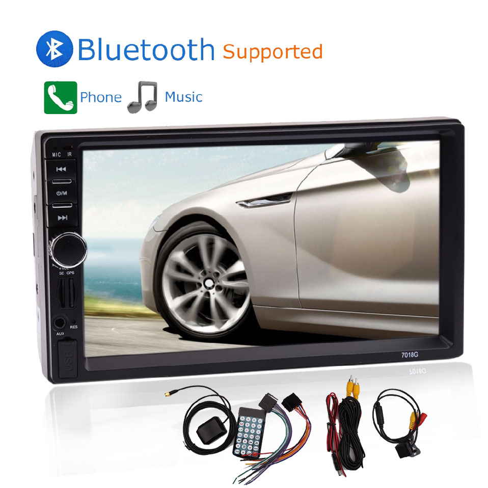 7 inch 2 Din Touch Screen Bluetooth Input Built-in GPS CD Car Radio Player With Camera Map 8GB Car Rear View Camera car styling head lamp case for vw golf 7 2014 headlights golf7 mk7 led headlight drl lens double beam bi xenon hid accessories