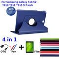 360 giratoria litchi piel caso capa para cubierta de cuero para samsung galaxy tab s2 t810 t815 9.7 ''pc de la tableta de la cubierta + film + stylus + otg