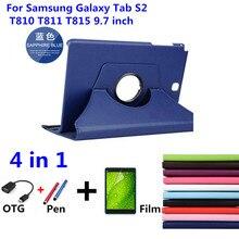 Nuevos Productos 360 de Rotación Litchi caso del soporte del tirón de la piel de Cuero de LA PU cubierta de la tableta para Samsung Galaxy Tab S2 T810 T811 T813 T815 T819