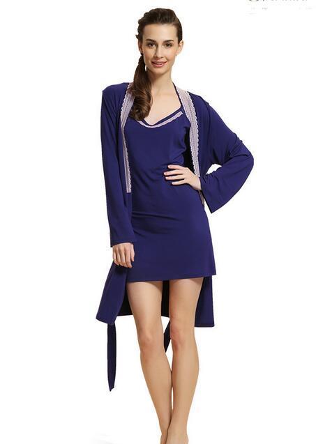 Women Robes Sexy 95% Model Nightdress ladies strap two pieces homewear long sleeve Nightgown Pajamas Sets Pyjama Femme