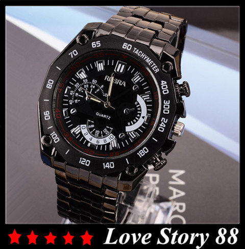 Men Wacth ROSRA Brand New Black Stainless Steel Exquisite Fashion Sports Wristwatch Hot Sale Quartz Watch masculino Reloje Clock free drop shipping 2017 newest europe hot sales fashion brand gt watch high quality men women gifts silicone sports wristwatch