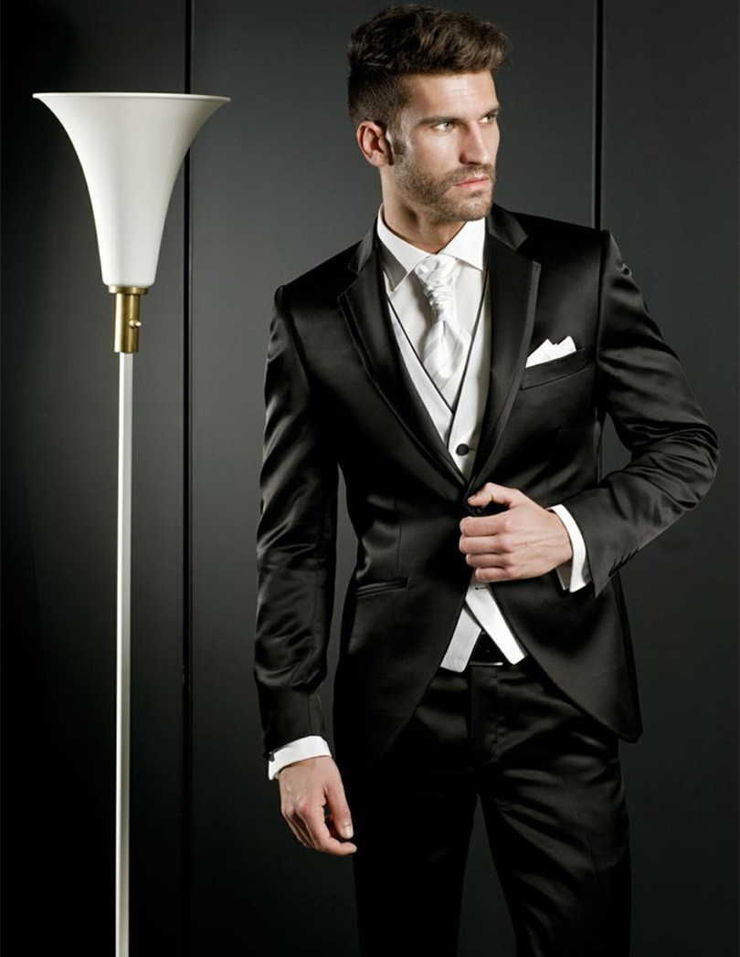 Fashionable One Button Black Groom Tuxedos Groomsmen font b Men s b font font b Wedding