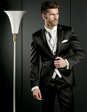 Fashionable One Button Black Groom Tuxedos Groomsmen Men's Wedding Prom Suits Custom Made (Jacket+Pants+Vest+Tie) K:68