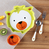Kid Ceramic Dishes Feeding Tableware Baby Food Container Infant Dinnerware Dishes Children Bowls Tray Spoon Set Tableware
