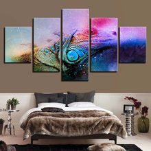 Canvas Paintings Home Decor 5 Pieces Colour Abstract Lizard HD Prints Chameleon Posters Living Room Wall Art Framework Pictures(China)