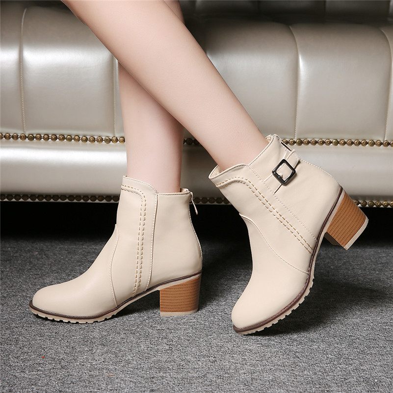 Plus Size 34-43 Autumn winter Snow boots Square high heels Shoes Casual Martin boots women Fashion zipper leather Ankle Boots fashion beige woman snow boots winter square heels round toe sexy pu winter shoes for lady high heels plus size 34 43