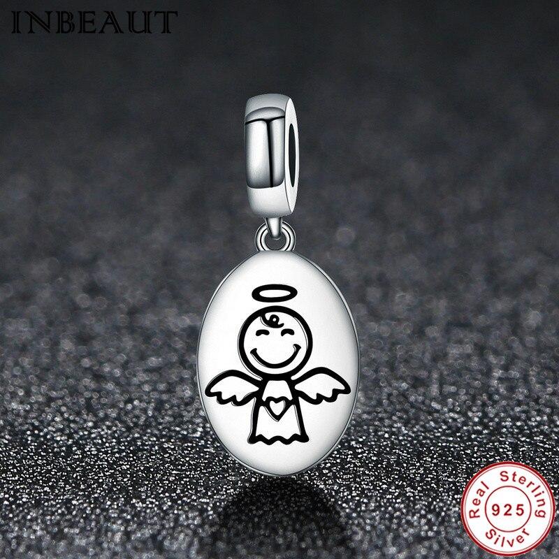 INBEATU Fashion Beads Chain Bracelet Charm 925 Sterling Silver Cute Guardian Angel Necklace Pendant Charms fit Pandora Bracelets