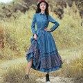 [AIGYPTOS-BOSHOW] 2016 Novas Mulheres de Outono Tendência Nacional Elegante Magro Longo-Luva Ruffles Floral Impressão Patchwork Denim Longo vestido