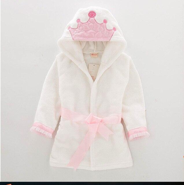 Принцессы Crown Пижама детская Ванна Полотенца детские одеяла для девочек Халат с капюшоном банное Полотенца s детские вещи махровые пижамы п...