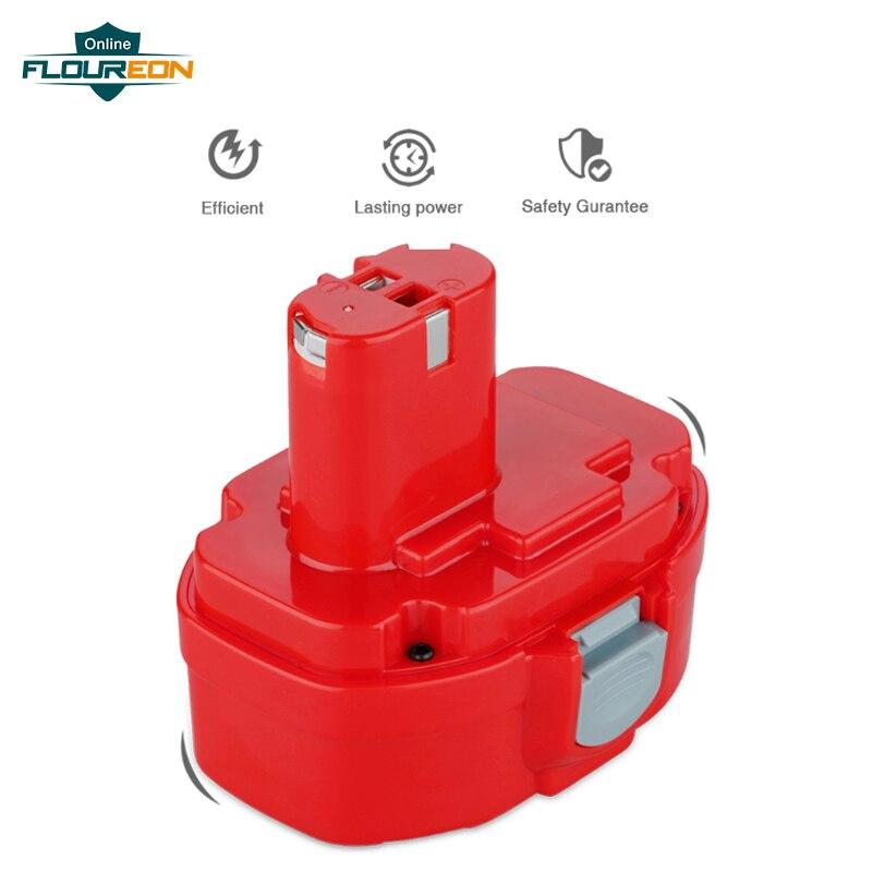 FLOUREON 14.4 V 3.0Ah Ni-MH 193158-3 Batterie Rechargeable pour Makita PA14 JR140D 1420 1422 1433 1434 1435F 192699-A