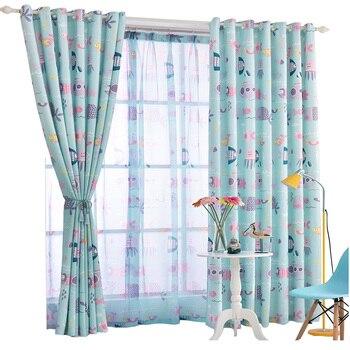 Blue Linen Curtains | Blue Mediterranean Children Room Undersea World Curtain Cartoon Kids Boy Bedroom Linen Thick Window Curtains Tulle Sheer Curtain