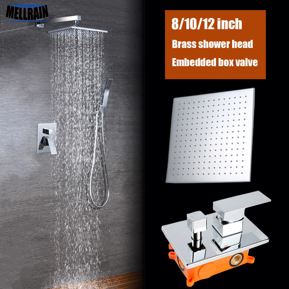 Bathroom 2 functions rainfall shower system set brass square 8 10 12 inch shower head chrome bathroom bath faucet embedded box цена