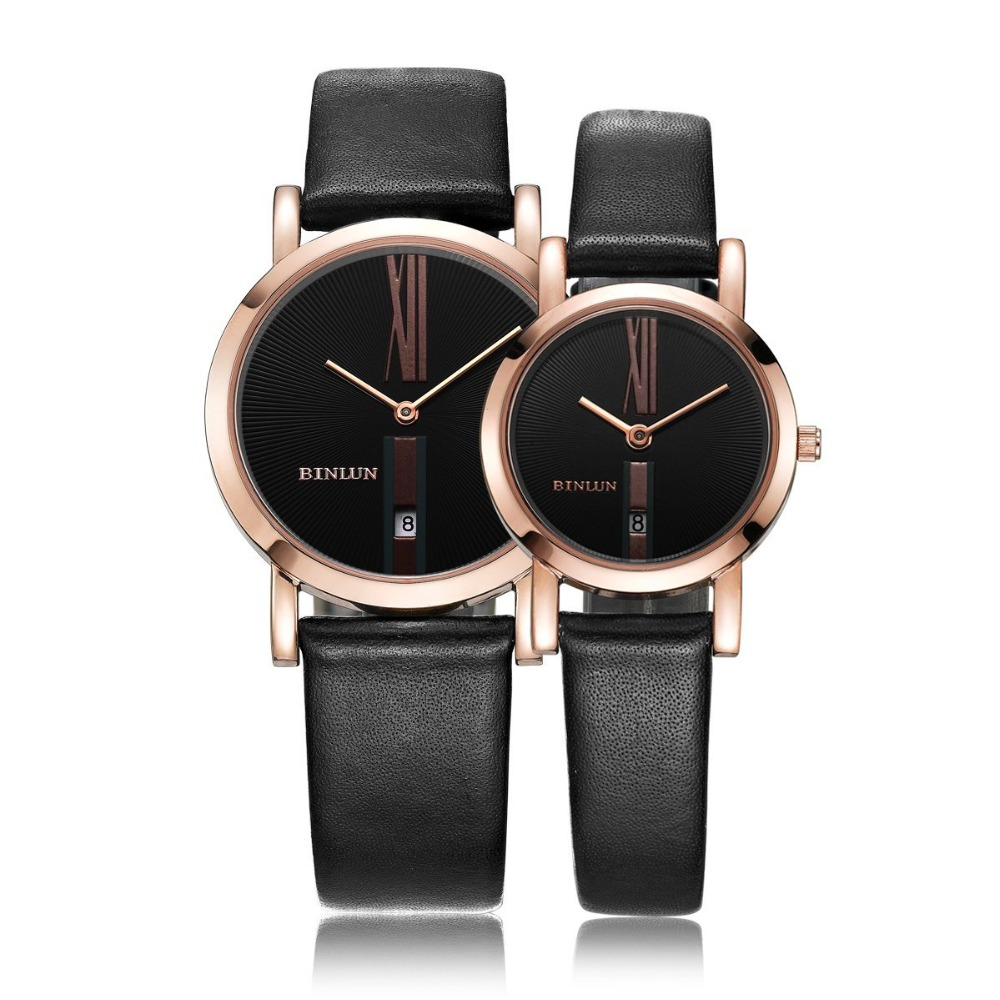 BINLUN Rose Gold Sliver His and Hers Gifts Couple Watches Waterproof Leather Bands Watch Set Lovers Automatic Quartz Watches