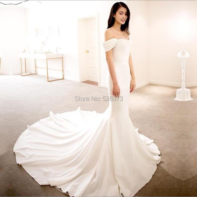 5d700d0b4fe YNQNFS W15 Real Flare Fishtail Mermaid Off Shoulder Simple Light Boho  Wedding Bridal Party Bridesmaid Dress Formal Gowns 2018