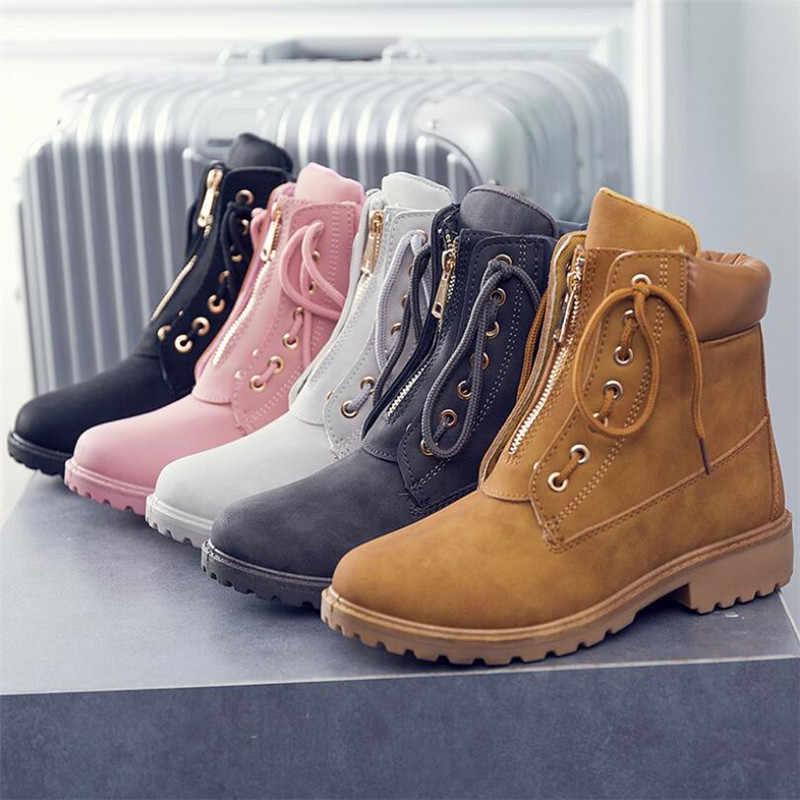 QIUBOSS 2018 da Thời Trang phụ nữ khởi động giày mùa đông Ren Lên mắt cá chân khởi động cho phụ nữ ngắn sang trọng dành cho người lớn nữ tuyết khởi động q457