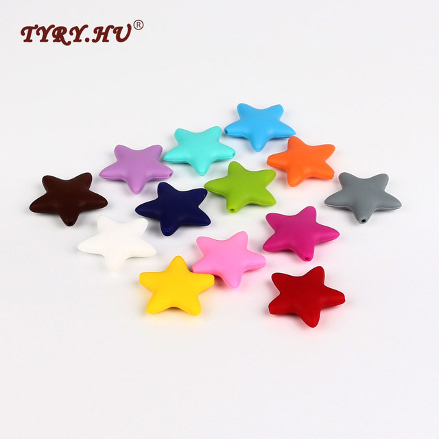 TYRY. HU 5 pc Esferas De Silicone Em Forma de Estrela De Qualidade Alimentar Do Bebê Dentição Para Mastigar Beads Para Colar DIY Acessórios Para Fazer Jóias