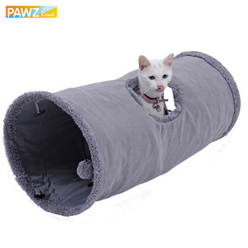 Big Long Cat Tunnel with Play Ball Pure Color Suede Material Kitten Play S/M Foldable Pet Supplies Funny Cat Tunnel Steel Frame