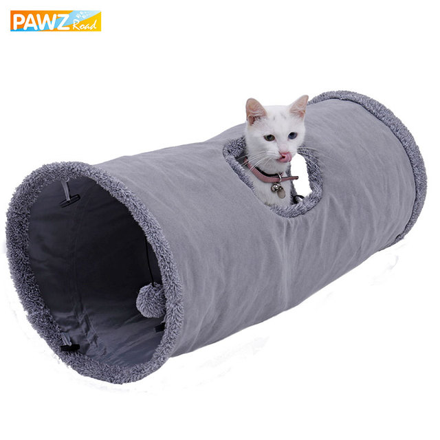 Big Long Cat Tunnel with Play Ball Pure Color Suede Material Kitten Play S/M Foldable Pet Supplies Funny Cat Tunnel Steel Frame big cat tunnel Big Long Cat Tunnel with Play Ball Suede Material-Free Shipping HTB1RHy3g26H8KJjy0Fjq6yXepXa5