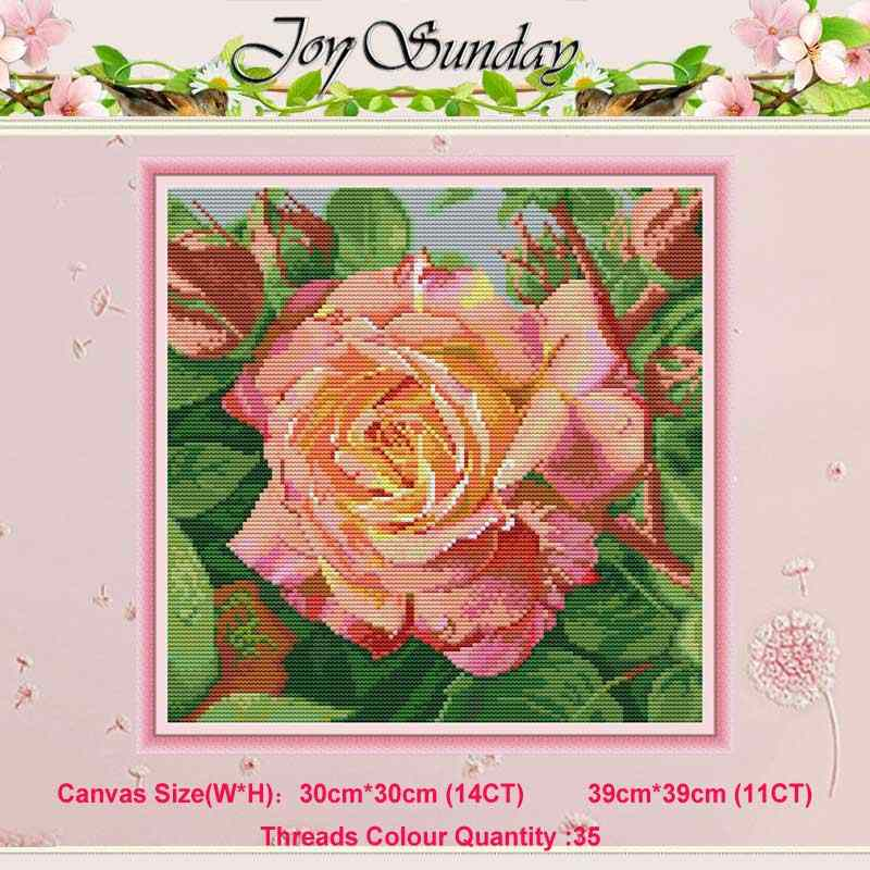 Rose flower painting counted 11CT 14CT Cross Stitch Set DIY DMC Chinese Cross-stitch Kit Embroidery Needlework home decor